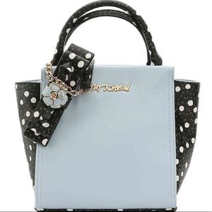 Betsey Johnson baby blue floral accent satchel bag